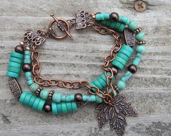 Chunky Turquoise and Copper 3 Strand Bracelet