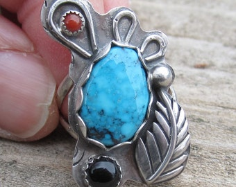 Turquoise, Coral and Black Onyx Sterling Silver Ring - Size 6 1/2