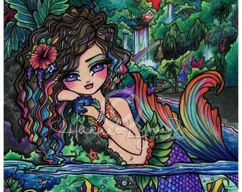 Maui Mermaid Art Print Tropical Fish Hibiscus Flower Hawaii 8x10 Hannah Lynn