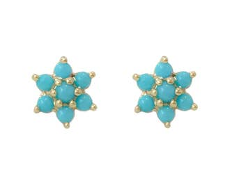 Turquoise Flower & 14K Solid Gold Rosebud Stud Earrings (Perfect for Cartilage, Conch,Tragus, Helix Piercings) {Rose, White or Yellow Gold}