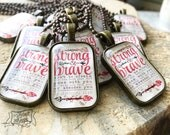 coral strong & brave Deuteronomy 31:6 necklace or keychain clip