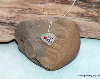 Sterling Sea Glass Necklace - Lake Erie Heart Necklace - Beach Glass Jewelry - FREE Shipping inside the United States