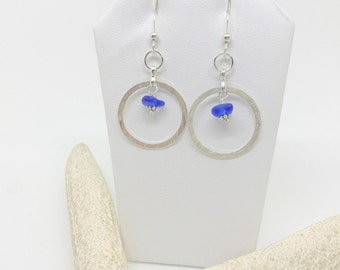 Cobalt Blue Hoop Earrings - Lake Erie Beach Glass - Pierced Earrings - FREE Shipping inside US