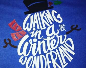 Winter Long Sleeve Tshirt, Walking in a Winter Wonderland, Christmas Tshirt, Snowman Tshirt, Ladies Holiday Tshirt