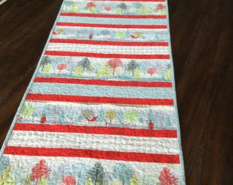 """Table Runner - Quilted - 17"""" x 66"""" - Christmas - Table Linen - Handmade - Homemade - Cotton"""