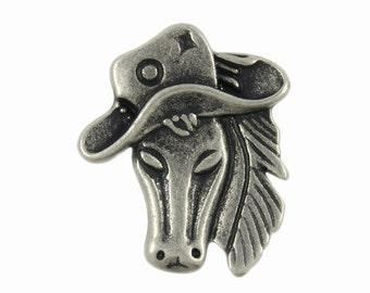 Horse Metal Buttons - Horse Head Antique Silver Metal Shank Buttons - 0.91 inch - 3 pcs