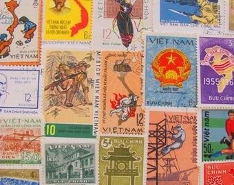 Pho Sure 50 Premium Vintage Vietnamese Postage Stamps Socialist Republic of Viet Nam Asia Vietnam War Mekong Ho Chi Minh Hanoi Philately