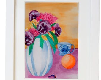 Foral Watercolor with Blue and White China Print/ Poster