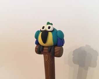 Polymer Clay Blue Macaw Parrot Pen