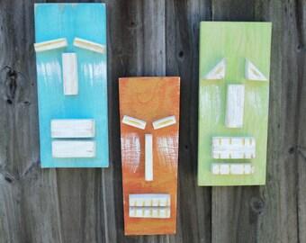 "Tiki Set ""TROPICAL"", Weathered Style Tiki Masks, Beach-y Wall Art, Wood Sculpture, Rustic Beach House, Tiki Man"