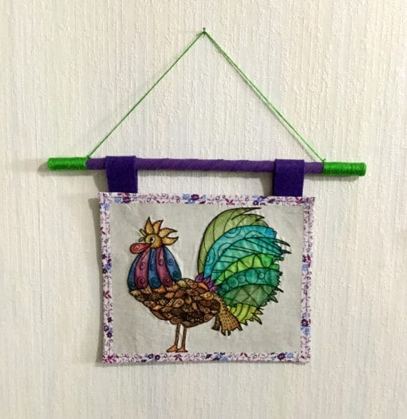 Rooster Hand Embroidered Mini Tapestry, Kitchen Art, Wall Art, Whimsical, Zen Doodle, Hand Embroidered