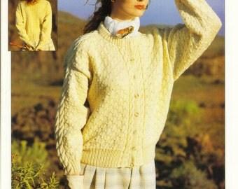 Ladies Aran Cardigan Knitting Pattern Original Knitting Pattern Leaflet Vintage Paton