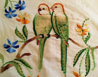 Vintage Parakeet Lovebirds Budgy Embroidered Pillow top Tinted Linen