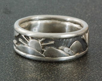 Blue Ridge Mountains | Sterling Silver Ring | Men's  or Women's Band