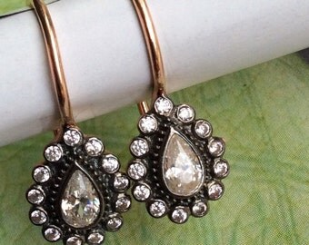 FREE SHIPPING Jasmine  EARRING rose gold antique mid century diamond vintage inspired sterling