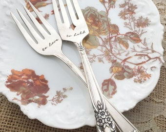 "Set of forks and vintage plate, wedding set of ""to have & to hold"" forks, hand stamped mismatch"