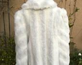 Vintage 1970s 1980s rare Jordache faux cream and gray fur coat size S M