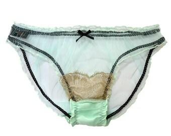 Henrietta MINT Silk Tulle and Scallop Gold eyelush lace Scrunchie knicker, panties, Briefs  - Babydoll panties, Sheer lingerie