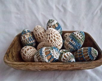 Handmade Crochet Wooden Collectable Easter Eggs Set of Twelve Handmade Easter Decoration Home and Living Decor Handmade Easter Gift Eggs