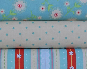Delighted 3 Fat Quarters Bundle by The Quilted Fish for Riley Blake, 3/4 yard total