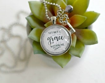 Grace Necklace, Scripture Necklace, Glass Dome Necklace, Gift For Friend, Mother's Day Gift