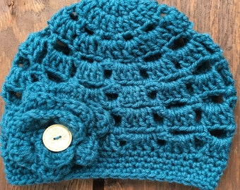 Crochet Girls Hat, Hat for Toddlers, Childrens Hat, Kids Hat, Childs Hat, Girl Toddler Hat, Girl Beanie, Toddler Beanie, Beanie, Teal