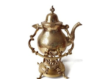 Brass Tilting Teapot on Warmer Stand/Vintage Moroccan Arabian Nights Decor/ Islamic Art Piece