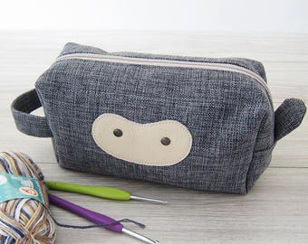 Medium Grey Box Pouch, Craft Pouch, Crochet Project Pouch, Sock Knitting Project Bag