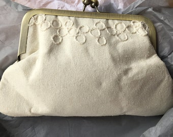 Undyed hand embroidered silk clutch bag (small)