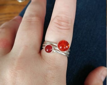 Amber and Carnelian Stacking Rings Set of 3