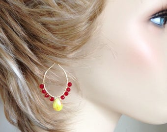 """Yellow & hints of Red Quartz with Red Crystal Teardrop Oval Hoop Earrings – 2"""""""