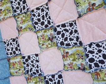 On Sale, Cowgirl Extra Large Throw Size Rag Quilt, READY to SHIP, Minky Star Quilt with Cowhide, Horse Quilt, Handmade in NJ