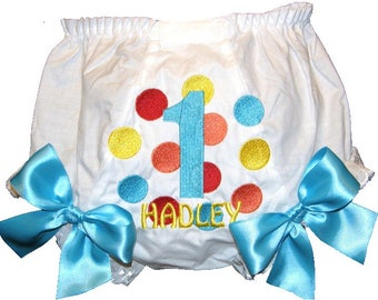Personalized Birthday Multi Color Dots Baby Girl Bloomers, Diaper Cover