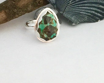 Turquoise Ring Natural Carico Lake Mine Sterling Silver Size 4.75