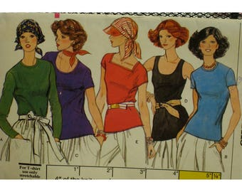 "T-Shirt Pattern, Tank, Long Sleeves, Short Sleeves, Square Neck, Round Neck, Scoop Neck, Stretch Fabric, Vogue No.9417 Size 8 Bust 31.5""80cm"