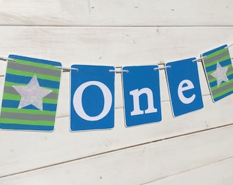 ALL STAR ONE Birthday Banner, Baby Boy Birthday, first birthday, blue, green, Nautical, Birthday Boy, First Birthday Party, stars, sports