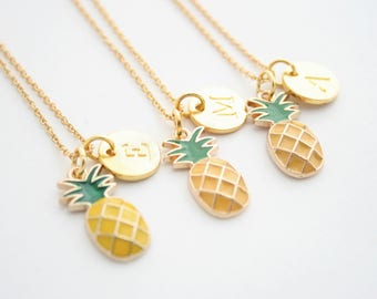 Gold Pineapple Initial Charm Pendant Necklace And Card Be A Pineapple As Seen On Jane.com