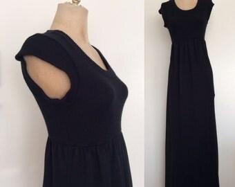 1970's Black Knit Vintage Sweater Maxi Dress Size XS Small Medium by Maeberry Vintage