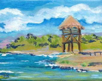 Original Painting,  Acrylic Art, Impressionist, Ocean Art, Seascape, Cozumel Coast, Beach, Canvas art, 5X7, SFA