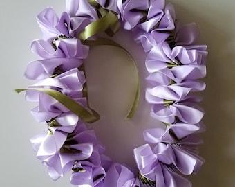 Lilac/Green Child's Satin Ribbon Flower Lei
