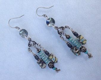 Grey, White, Light Blue & Light Yellow Chandelier Earrings
