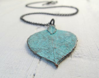 Long Patina Leaf Necklace, Bohemain Blue/ Green Pendant Necklace, Mykonos Patinaed Leaf Necklace, Necklace with Black Chain