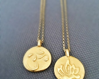 Gold OM Necklace,OM Necklace,Double Sided om Charm Necklace-Lotus Necklace-Big om Necklace-Two Sided OM Necklace-gold medallion necklace