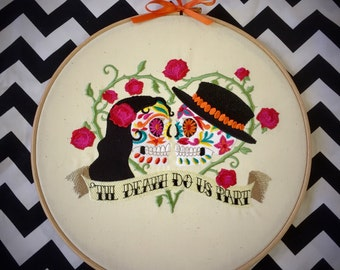 till death embroidered wall art