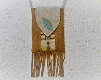 Suede Fringe Boho Southwest Inspired Crossbody Bag