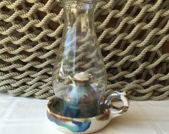 Pottery Oil Lamp in Tricolor
