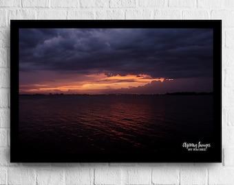 Water Print, Water Photo,sunset Photo, Water Sunset, Sunset Print, Dark And Stormy, Ocean Photography, Ocean Photo, Ocean Print ,Sunset