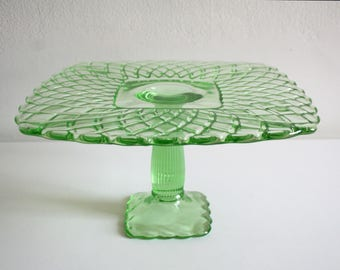 Footed Vaseline Cake Stand