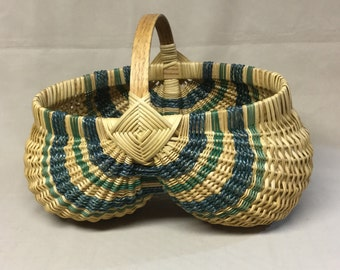Oval Hand Woven Egg Basket, Green and a Teal Accents