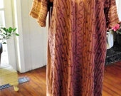RESERVED for Lois/Plus Size Caftan/ Brown Tone Cotton Embellished Dress-Caftan/ Embroidered Sabina Fashions/ Made in India/ Shabbyfab Retro
